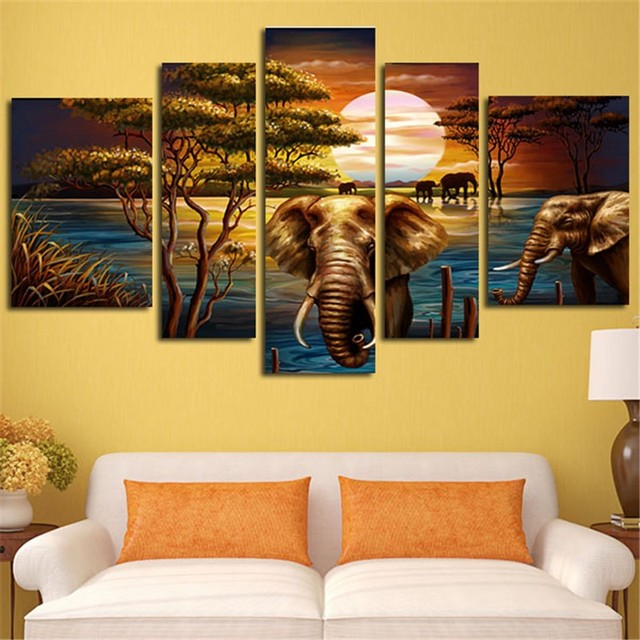 5Pieces Oil Elephant Canvas Painting Poster Art Canvas Wall Prints ...