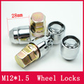 4NUTS+2KEYS M12x1.5 CLOSED ACORN LOCKING LUG NUTS/ WHEEL LOCKS Anti theft Security Key Nut  For the WHEELS/RIMS