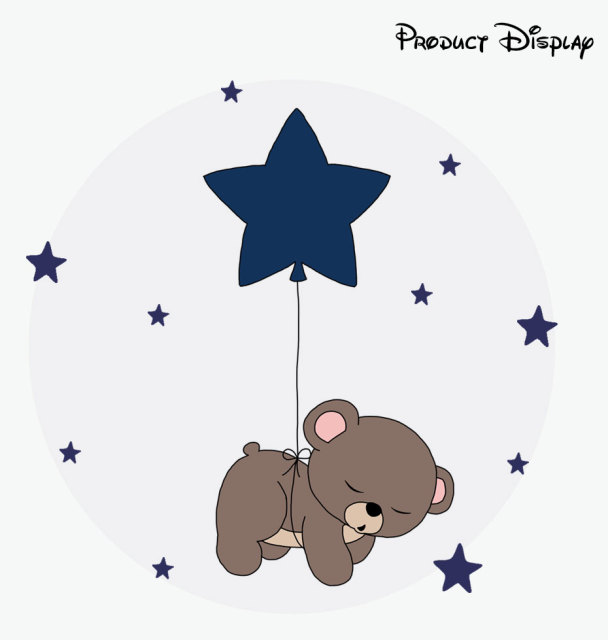 Cartoon Cute Teddy Bear Moon Stars Color Wall Sticker For