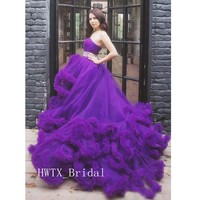 Purple Princess Evening Dress Hand Made Cloud Wave Tulle Crystals High Low A line 2019 Long Pageant Party Prom Dress Formal Gown