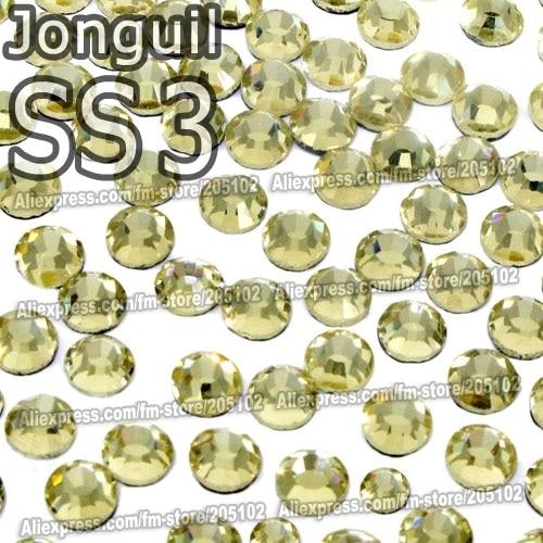 SS3 1.4mm Jonguil Nail Rhinestones 1440pcs/bag Non HotFix Flat Back Crystals glass strass Glitters for nail Art glue on stone