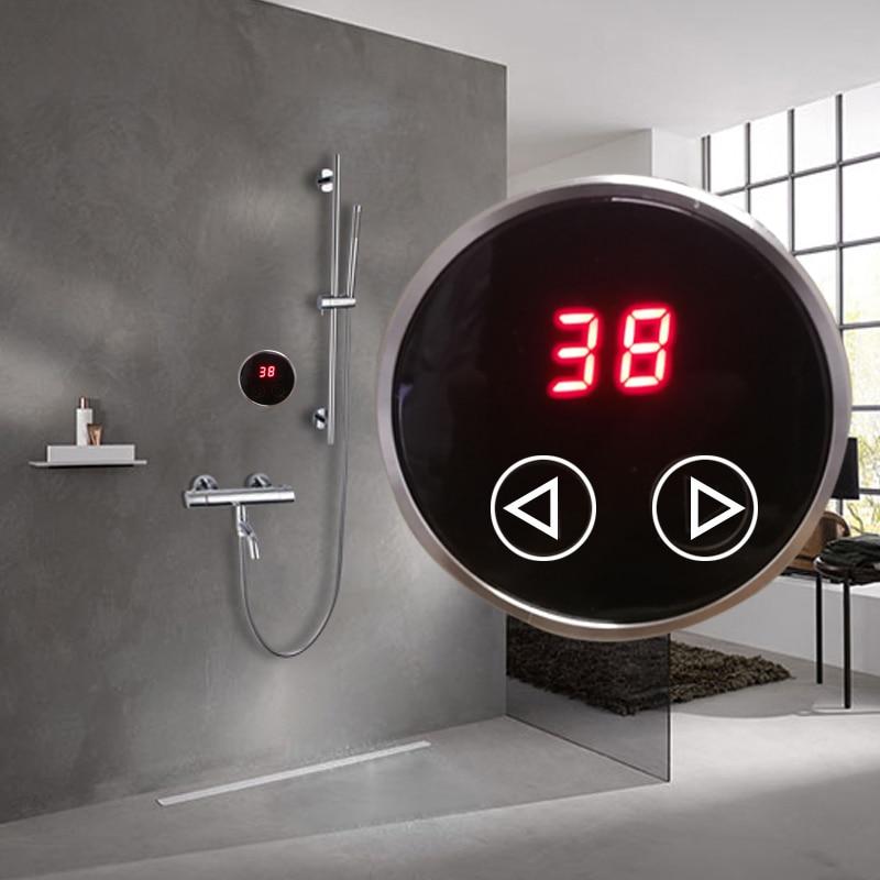 Termostato de Sistema de ducha con memoria JMKWS para calentador de agua o grifos de lavabo, Panel táctil de visualización digital con válvula mezcladora termostática Grifos de ducha Frap, grifos de baño de Grifo de ducha de baño contemporáneo de alta calidad, conjunto de cabezal de ducha mezclador Torneira