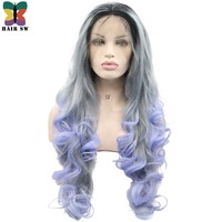 HAIR SW Long Loose Wave Synthetic Lace Front Wig With Baby Hair Silver Grey Ombre Purple Dark Roots Handtied Wig For Party Women