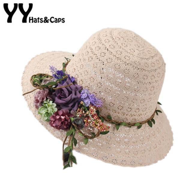 7aac8de5586d0 Hollow Sun Hat Women Wide Brim Flower Beach Summer Caps Ladies Church Cap  Floppy Sun Visor