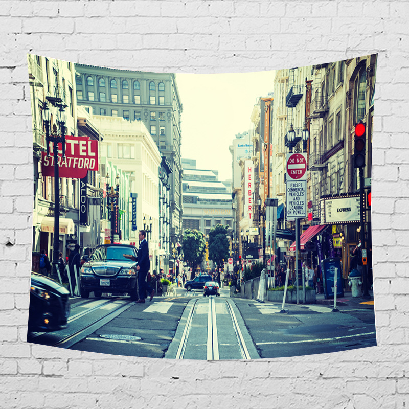 American Street Pattern Hanging Wall Carpet Tapestry Rectangle Student Dormitory Decorative Tapestries Sheet Chair Sofa Cover