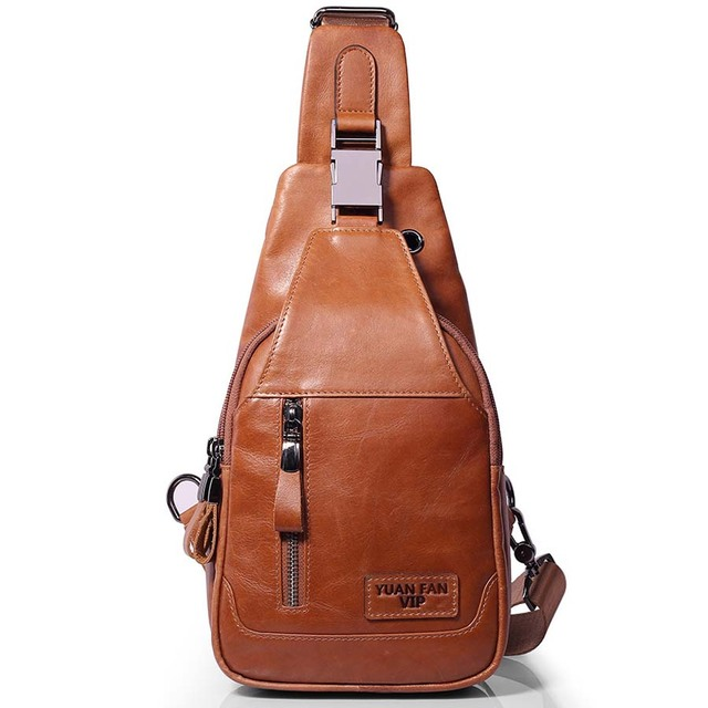 da831025f9 Brand Genuine Leather Casual Sling Bag Men s Chest Pack Crossbody Shoulder  Bag Messenger Bags For Travel