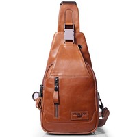 Brand Genuine Leather Casual Sling Bag Men's Chest Pack Crossbody Shoulder Bag Messenger Bags For Travel Zipper Style Design