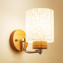 HGhomeart Modern Wood Wall Lamp Luminaria E27 Light Reading Lamps Mounted 110-220V Bedside fixtures