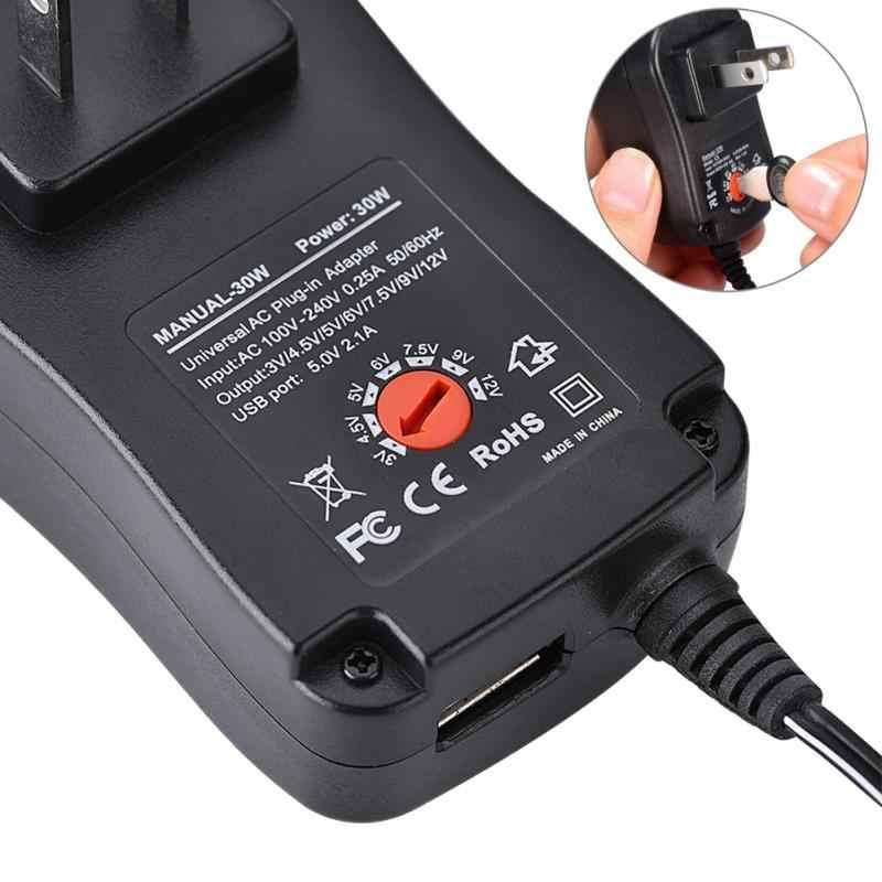 Универсальный адаптер питания переменного/постоянного тока 5 В 2.1A USB порт 6 наконечников 30 Вт 3 В/4,5 В/5 В/6 в/7,5 в/9 В/12 В