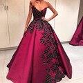 Sexy Cuello En V Una Línea de Vestidos de Noche Negro Apliques de Abalorios de Lujo Espalda Abierta Formal Prom Vestidos de Noche 2016