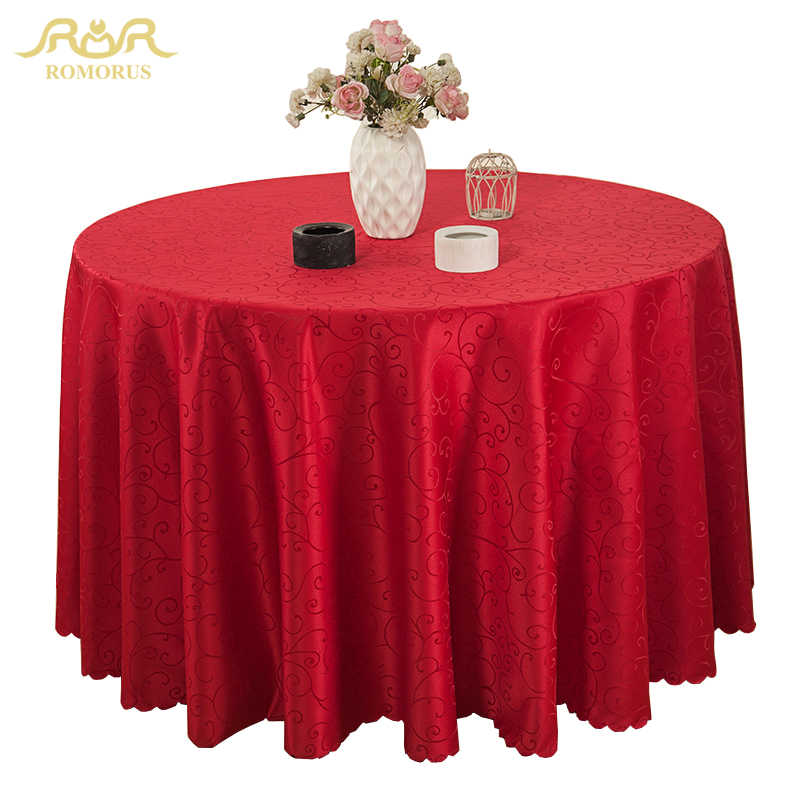 225 & ROMORUS New Round Table Cloths Solid Color Wedding Tablecloth Gold/Red/Purple/White Party Table Cover Square Dining Table Linen
