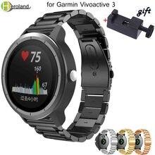 20mm watch strap Stainless steel Wristband for Garmin Vivoactive 3 Watch band bracelet Replacement Strap for Garmin Vivoactive3 цена в Москве и Питере