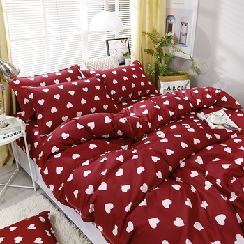 Red Full Of Love Printing High Quality Bedding Set Bed Bedding Sets