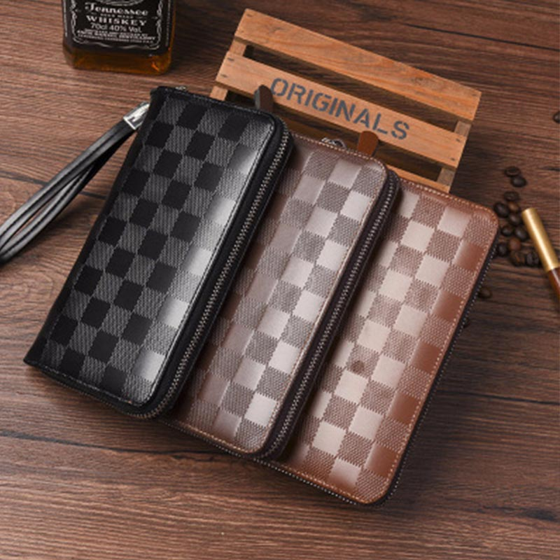 Men Plaid Wallet Long Tile Wallet Business Houndstooth Multi-function Purse Portfolio Clutch Wallet For Card Phone Money Bags