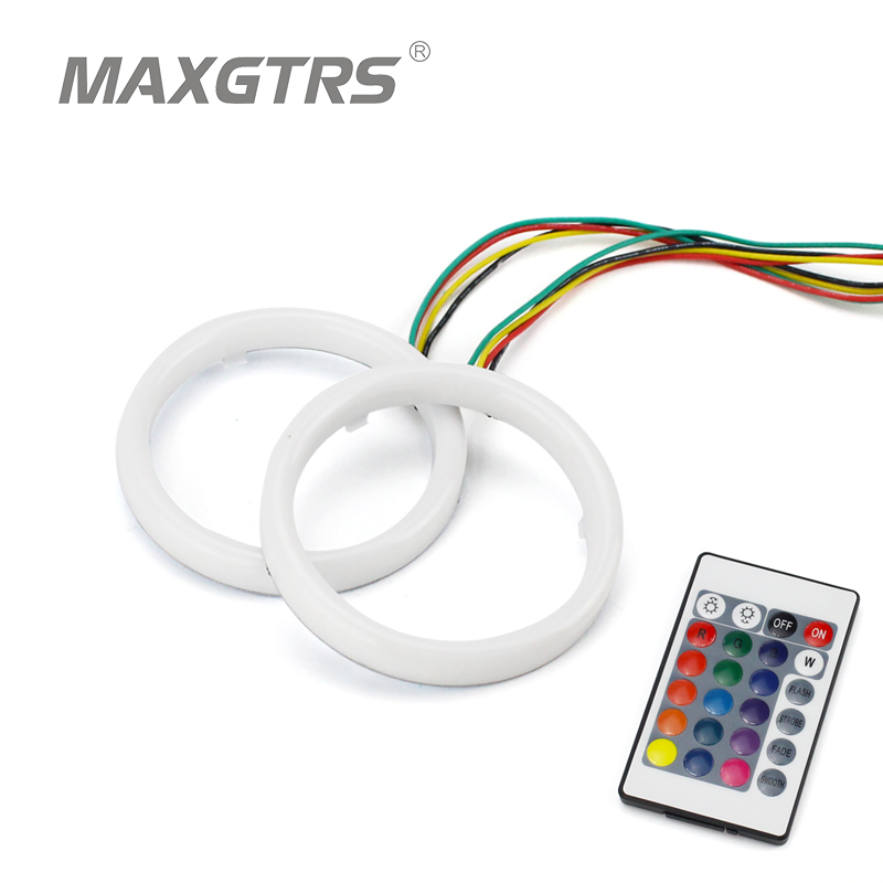 2x Auto Halo Ring Cotton Light SMD Headlight 60 70 80 90 95 <font><b>100</b></font> <font><b>110</b></font> 120 mm Car Angel Eyes Kit Led Motor DRL Fog Lighting image