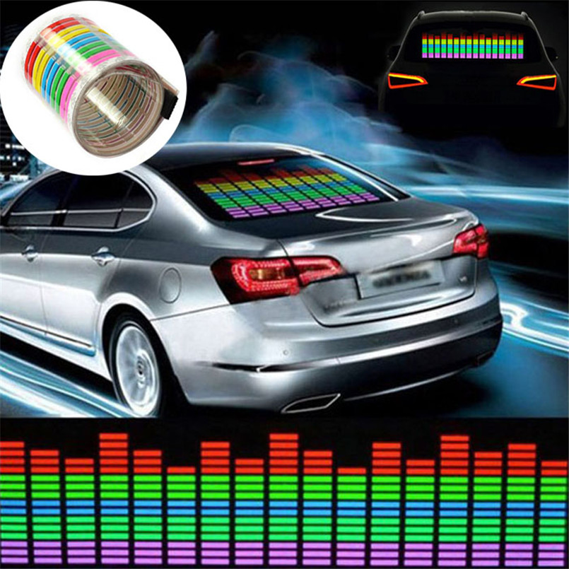 """רכב סטיילינג 45x11 ס""""מ רכב מדבקת המוזיקה קצב פלאש LED אור מנורת סאונד הופעל אקולייזר 12 V"""
