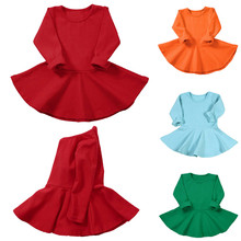 Toddler Kids Baby Girls Long Sleeve Solid Dress Outfit Dresses Clothes newborn dresses for baby girls new