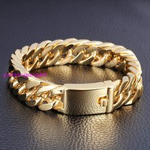 8.5″x14mm Gold Tone Heavy Cool Mens Jewelry 316L  Stainless Steel Curb Cuban Chain Bracelet