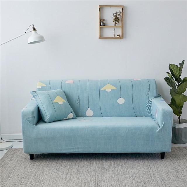Printing Light Elastic Stretch Sky Blue Sofa Slipcover Non slip Wrap ...