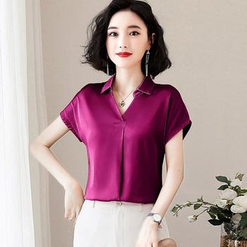 Korean Fashion Silk Women Blouses Satin Solid Short Sleeve Pink Women Shirts Plus Size XXXL Womens Tops and Blouses 1