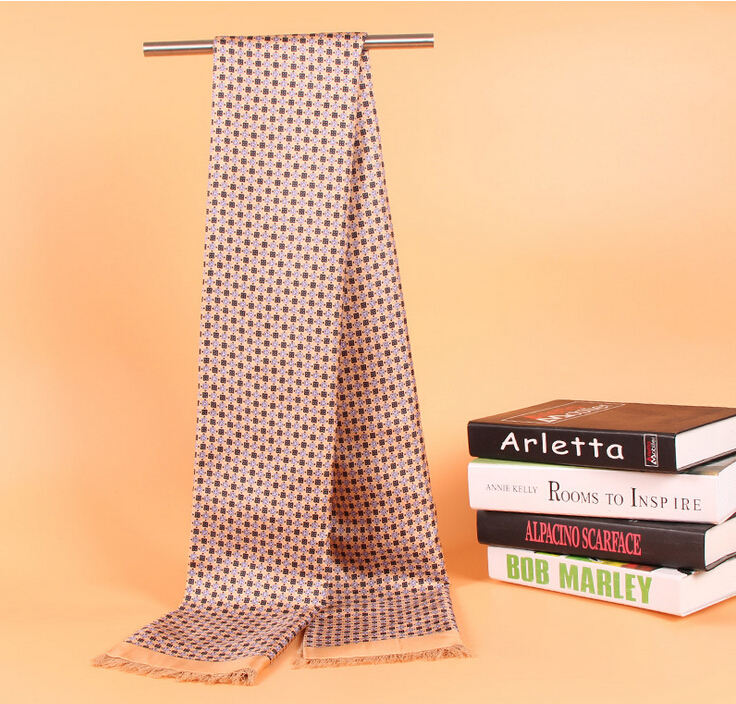 Silk Scarf Business Fashion-Brand Men For Autumn Wraps Man