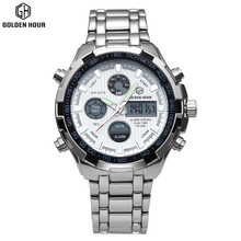 2017 Fashion Watches Men Luxury Brand Gold Silver White Watches Men Sports Quartz-watch Dual Time Relogio Masculino Esportivo