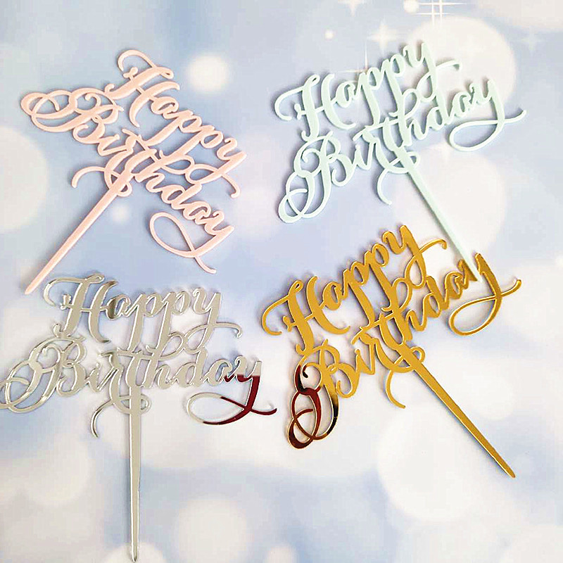 Baking Cake Insert 1pc New Party Decoration Decor  Silver Gold Pink  Cake Topper Glitter   Acrylic Happy Birthday