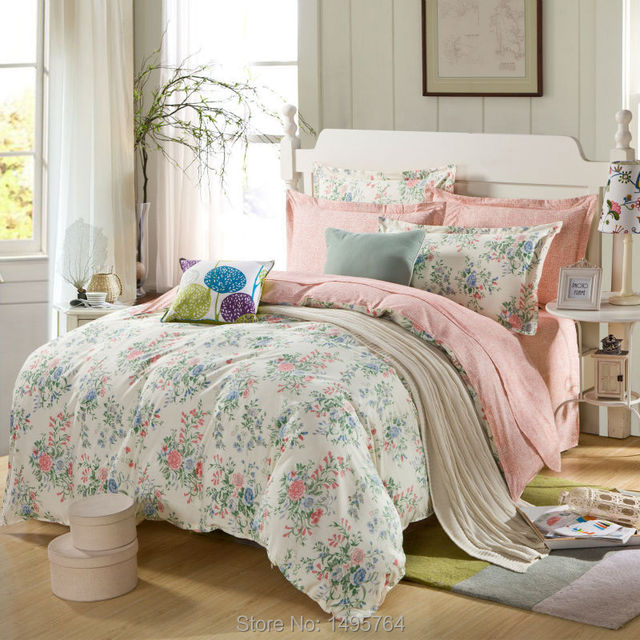 100 Cotton Pink Rose And Mint Green Bedding Set With Twins Queen King Size