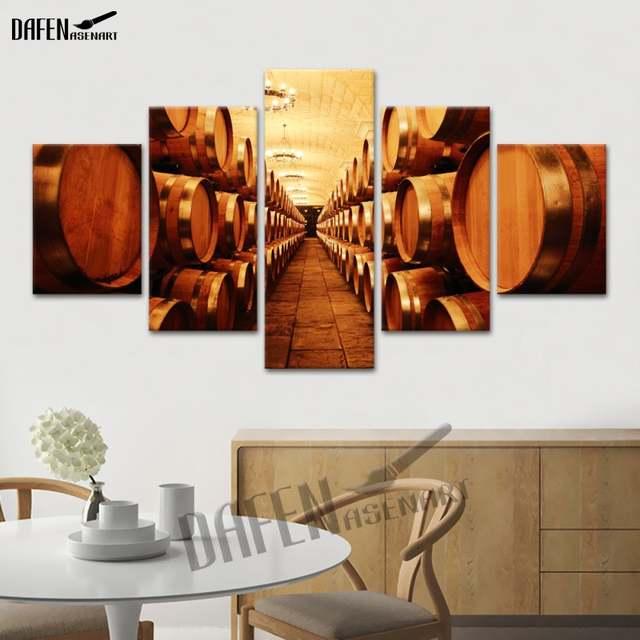 Cuadros de arte de pared 5 paneles gran bodega de vino lienzo pintura para  cocina comedor decoración para el hogar póster de pared imagen impresa