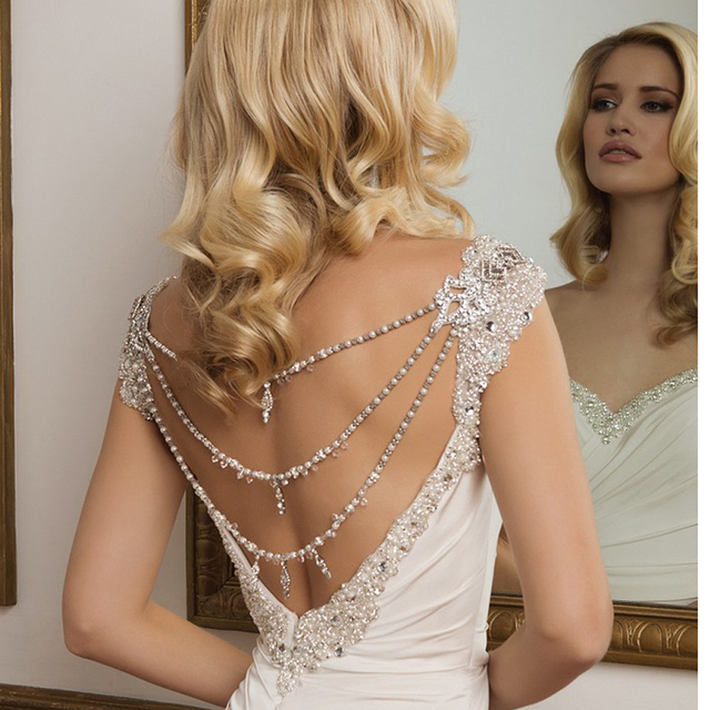 Fashion Pearls Rhinestone Wedding Bridal Dress Belt for Back design Berydress Accessories Women chain