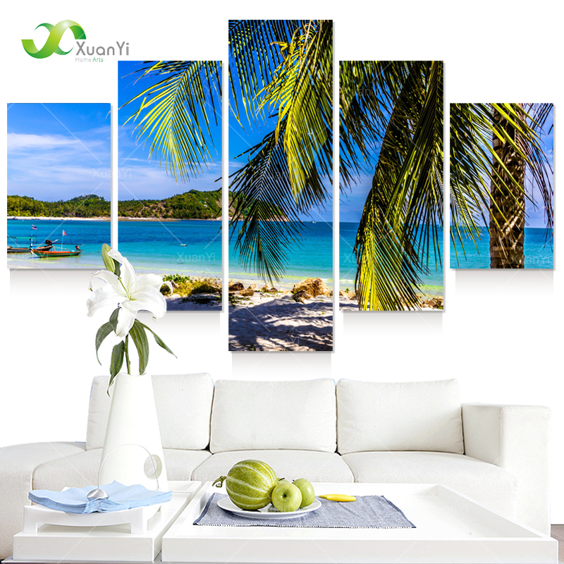 Art Canvas 5 Piece Abstract Tropical Beach Painting For Bedroom Home Decor