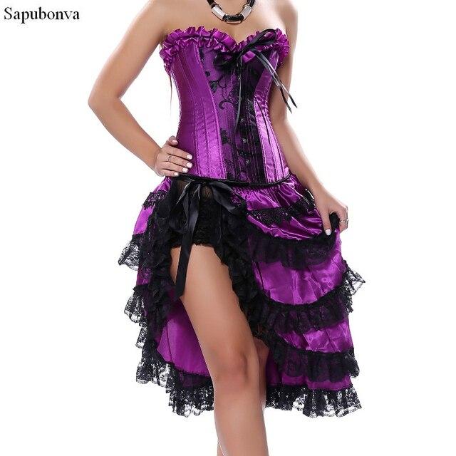 dfea184bb30 Sapubonva victorian corset dress gothic sexy burlesque exotic tutu skirt  corset party long corset overbust bustier black purple