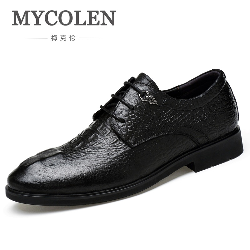 MYCOLEN Luxury Brand Men Flats High Quality Crocodile Skin Genuine Leather Shoes Mens Lace Up Business Dress Shoes Oxfords good quality men genuine leather shoes lace up men s oxfords flats wedding black brown formal shoes