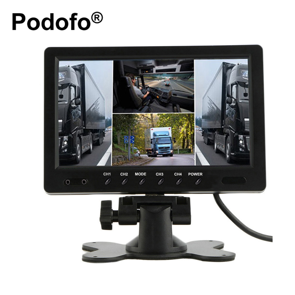 Podofo 9 Inch TFT LCD Car Monitor 4 Split Screen Headrest Rearview Monitor with RCA Connectors 6 Mode Display Remote Control 8 4inch 8 4 non touch industrial control lcd monitor vga interface white open frame metal shell tft type 4 3 800 600