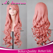 80cm Cheap Long Curly Blonde Purple Pink White Harajuku Cosplay Wig Party Anime Synthetic wigs For Black Women Peruca Pelucas