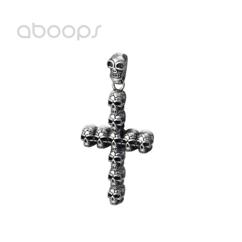 Pendentif croix gothique noir 925 en argent Sterling crâne pour hommes femmes livraison gratuite