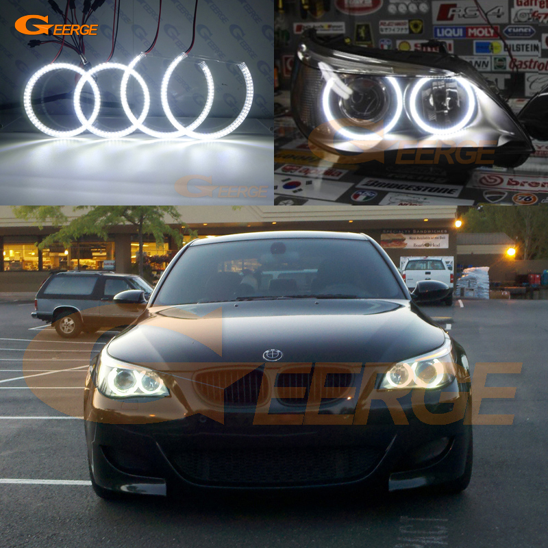 For BMW E60 E61 525I 530I 540I 545I 550I M5 2003-2007 Xenon Headlight Excellent DRL Ultra bright smd led angel eyes kit стоимость