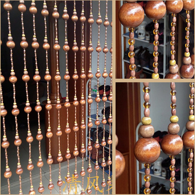 10 Pcs Hand Made Wood Bead Curtains Gourd Shape Bead