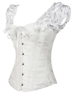 Image 3 - Puff Ruffle Renaissance Sleeves overbust Corset Strapless Jacquard wedding clothing Waist Trainer Bustier Plus Size S 2XL