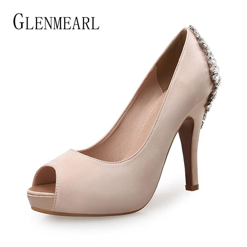 Women Heels Shoes Brand Female Pumps Crystal Glitter High Heels Platform Peep Toe Wedding Shoes Summer Ladies Shoe Plus Size DE
