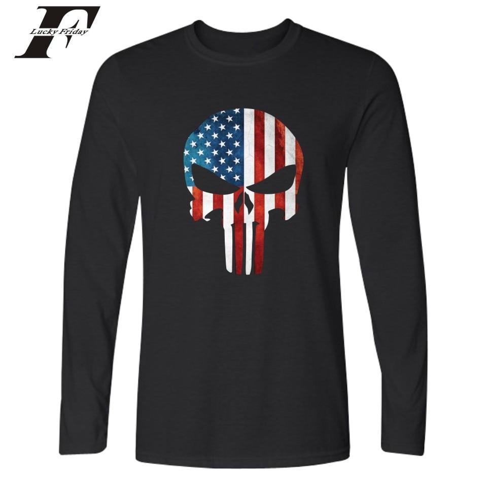 Black flag t shirt vintage - Luckyfridayf Neue Punisher Skull Amerikanische Flagge T Shirt M Nner Schwarz Und Wei Herbst Tops T