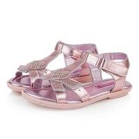 T. S. trẻ em sandal kích 26-35 hè Dễ Thương công chúa trẻ em da dép phẳng T Bar hoa trẻ em giày trái tim cô gái mô hình sandal