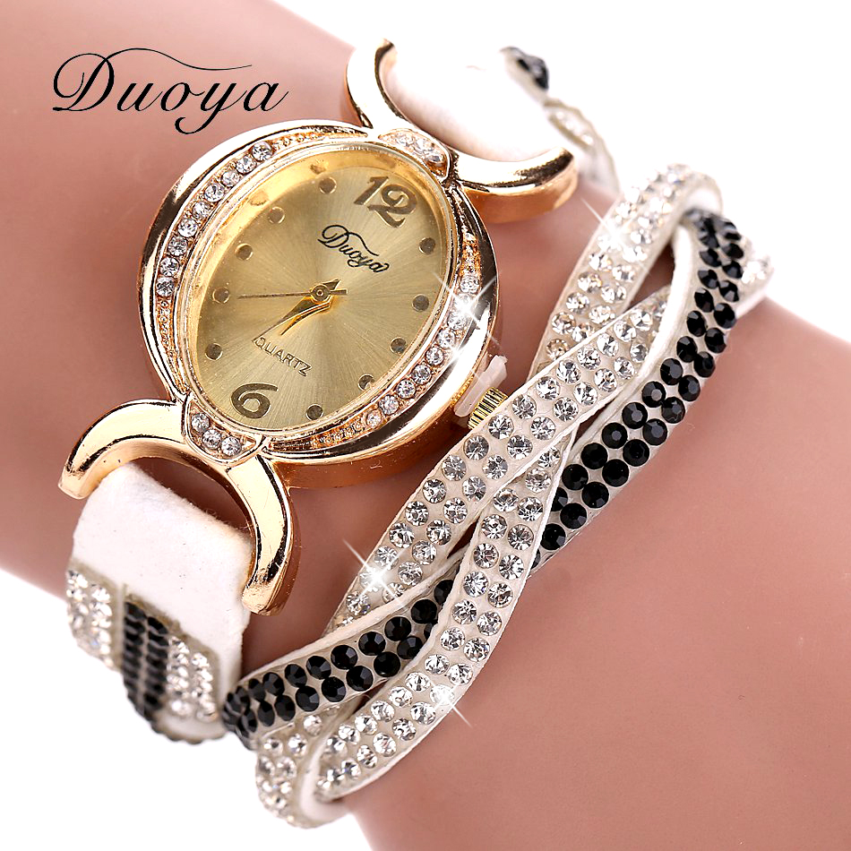 Duoya Luxury Brand Watch Women Gold Dress Crystal Rhinestone Bracelet Watch Female Fashion Ribbon Quartz Clock Christmas Gift duoya brand women bracelet luxury wrist watch for women watch 2018 crystal round dial dress gold ladies leather clock watch