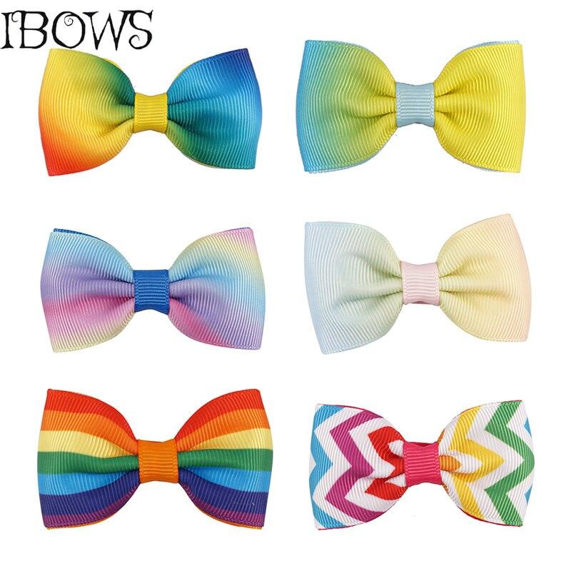 2Pcs/lot Boutique Rainbow Hairpins Girls Grosgrain Ribbon Hair Bows With Hair Clips Child Hair Accessories Handmade Gift