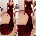 Único Designer borgonha sereia vestidos de baile 2016 mulheres Long Train Flattered equipado vinho tinto de veludo elegante vestido de festa