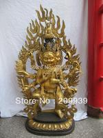00261 Tibet buddhism bronze gilt eight arm Mahakala yamantaka buddha Black Jambhala