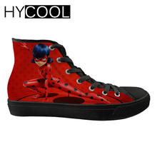 HYCOOL Ladybug Miraculous Printing Sport Sneakers for Girls High Top Walking Shoes for Female Flats Canvas Sports Shoes Lace-up