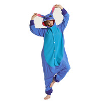 Adults Polar Fleece Blue Stitch Cartoon Kigurumi Women's Men's Onesies Pajamas Cosplay Costume for Halloween and Carnival Party