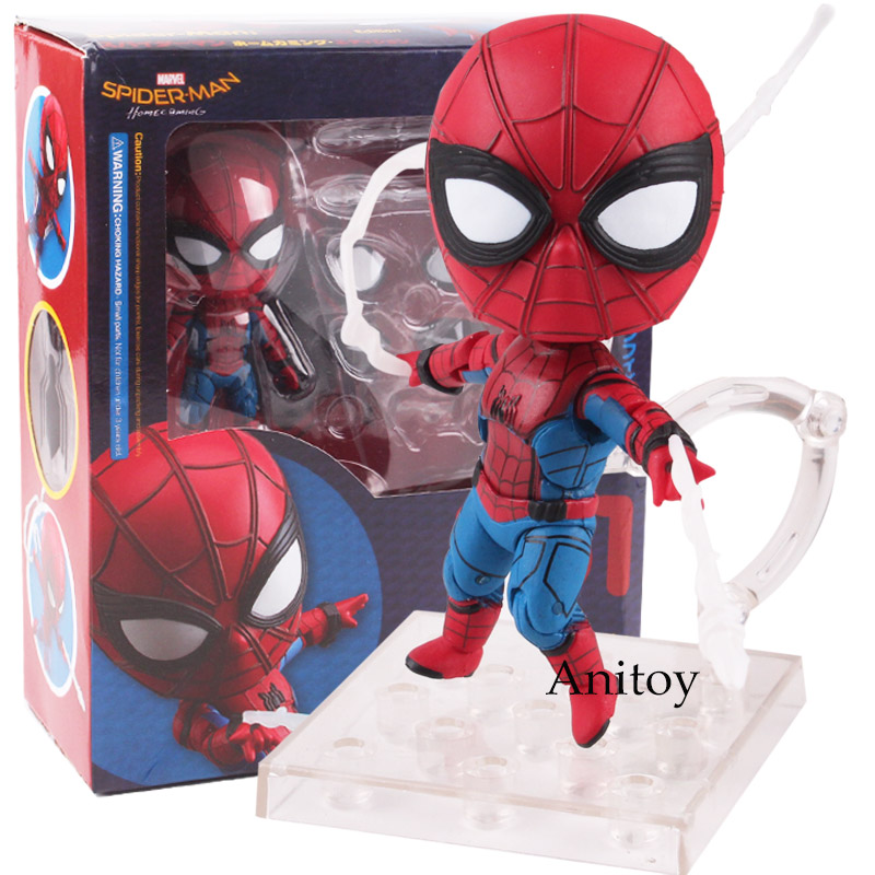 Marvel Spider Man Homecoming Spiderman Toys Nendoroid 781 Spider-man Figure PVC Action Figure Collectible Model Toy Dolls spider man homecoming spiderman iron man mk47 pvc figure collectible model toy with retail box 2 styles