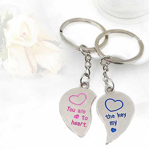 1 Par Casal Amante Coração Do Amor Presente De Casamento Chaveiro Anel Chave Keychain Keyfob 7DR3